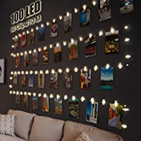 100 LED Photo Clip String Lights, litogo 10M Photo Peg Fairy Lights with 60 Clips Indoor Battery Powered Silver Wire…