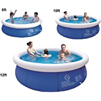 8'10'12'ft Prompt Set Round Inflatable Family Swimming Paddling Pool Garden Outdoor (8ft pool)