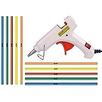 GLUN 20W 20 WATT 7MM HOT MELT Glue Gun (10 Colored Sticks, White)