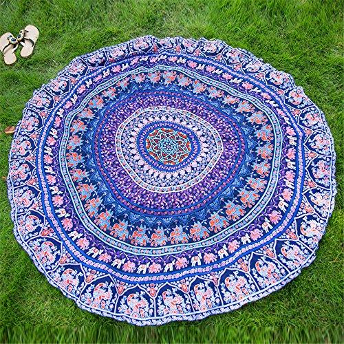 Yrxdd teli da spiaggia stampa sciarpa rotonda donne spiaggia di primavera scialle essenziali scialle primavera e modelli estivi selvatici,blu navy 145 * 145cm