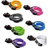 Cadena de alta seguridad para bicicleta GoFriend con combinación de 5 dígitos reajustable, cable para enrollar lo mejor para