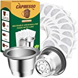 CAPMESSO Återanvändbara espresso kapslar påfyllningsbara kaffekoppar i rostfritt stål kompatibla med Nespresso OriginalLine B