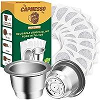 CAPMESSO Capsules à espresso réutilisables Capsules à café rechargeables en acier inoxydable Compatible avec la machine…
