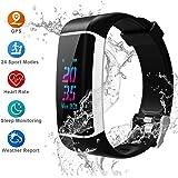 Youngdo Fitness Armband, IP67 Wasserdicht Fitness Tracker, Multifunktionale Spotuhr, 24 Sportmodi/GPS/Herzfrequenzmessung/Blutdruck, Schlafüberwachung, Wecker, Wetter, APP unterstützt