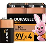 Duracell Plus 9 V Alkaline Batteries for Smoke Alarms [Pack of 4], 1.5 V 6LR61 MN1604 Ideal for Smoke Alarms