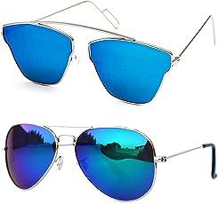 Xforia Polarized Boys Blue Wayfarer & Aviator Sunglasses For For Women & Men PACK OF 2 (PL-FLX-41 | 54 MM | Discounted)