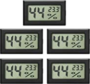 EEEKit 5-Pack LCD Digital Temperatur-Feuchtigkeitsmesser Thermometer, Mini-Digital-Thermometer Hygrometer und Feuchtigkeitsm