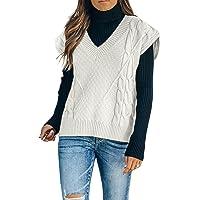 Maavoki Pullover Damen Weste Casual Strickweste V-Ausschnitt Pullover Sweater Ärmellos Elegant Einfarbig Strickpullover
