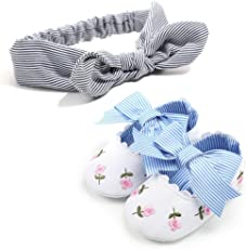 Voberry@ Voberry@ Baby-Girl's Embroidery Flower Shoe+1Pc Hairband Bowknot Stripe Toddler First Walkers