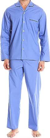 Savile Row Men's Pyjama Set - 100% Cotton Soft Long Sleeve Top & Bottom Pants Classic Casual Loungewear PJ Nightwear Sleepwear Pyjamas Sets for Men