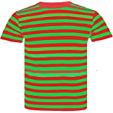 SELECT-ED Kids Child Striped Stripey S.W.T-Shirt Short Sleeve Cotton T-Shirts (3-13 Years) (Green & Red, Large)