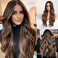 HAIRCUBE Langhaar Perücken für Frauen Ombre Farbe Brown Synthetisch Lockige Haare Perücke Mittelscheitel