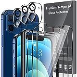 LK 6 Pack Protector de Pantalla Compatible con iPhone 12 6.1 Pulgada,Contiene 3 Pack Cristal Vidrio Templado y 3 Pack Protect
