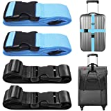 Wilxaw Luggage Strap Travel Accessories Packing Belts for Cases 4 Pack Adjustable Suitcase Bag Straps with 2 Pack Rose Gold Luggage Tags Black