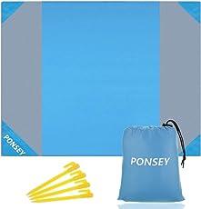 Ponsey Wasserdichte Stranddecke 200 x 200 cm Picknickdecke sandabweisende Tragbare
