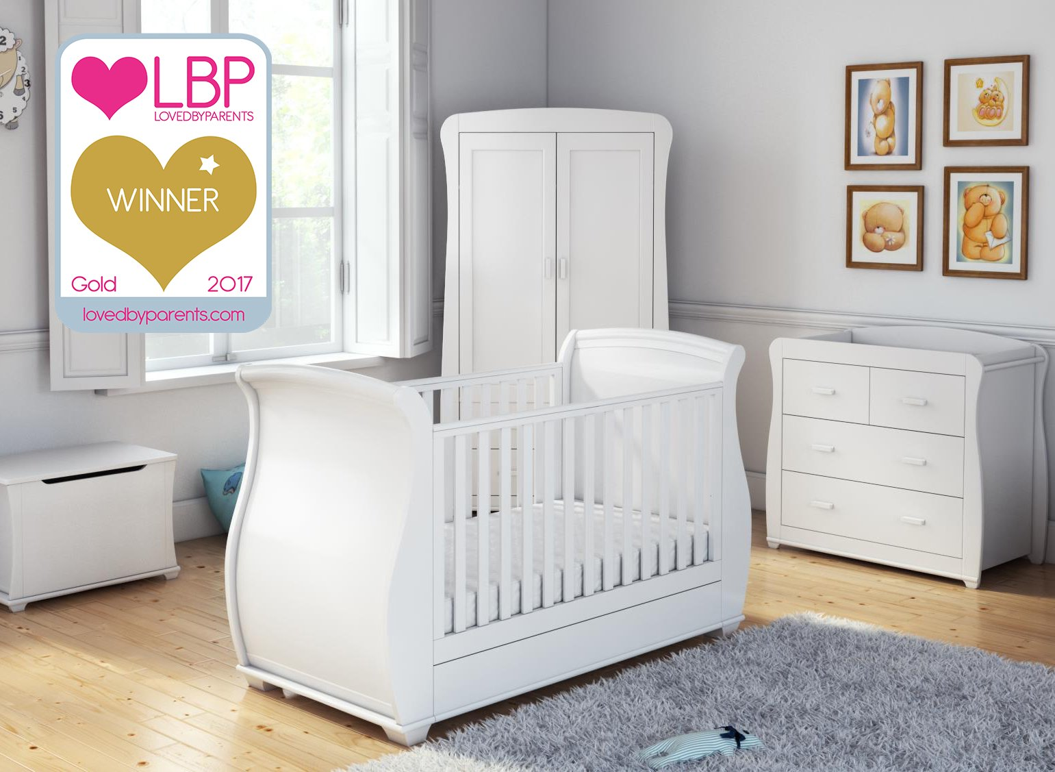 Babymore Bel Sleigh Cot Bed Dropside with Drawer (White)  Magnificent sleigh with appealing look of grandeur and solidity. Easily convert to junior bed/sofa/day bed, Meet British and European safety standards Single handed drop side mechanism allow easy access to your baby. 9