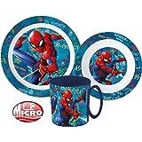 Spiderman Kinder-Geschirr Set mit Teller, Müslischale und Becher