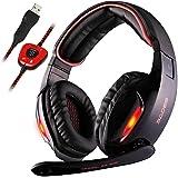Sades SA902 Gaming Headset USB 7.1 estéreo con cable Auriculares para juegos con micrófono Revolución Control de volumen Canc