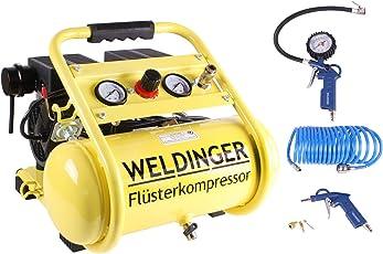Aktionsset WELDINGER Flüsterkompressor FK 95 compact 750 W Luftabgabe 90 l ölfrei + Druckluftset 6-teilig