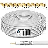 HB-DIGITAL 50m Cable Coaxial HQ-135 Cable de Antena 135dB Cable SAT 8K 4K UHD 4 Veces Apantallado Para Sistemas DVB-S / S2 DV