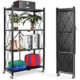 Arabest Foldable Standing Shelf,Units Storage Rack,Metal Heavy Duty Storage Shelf with Wheels, No Need Install Storage Rack (