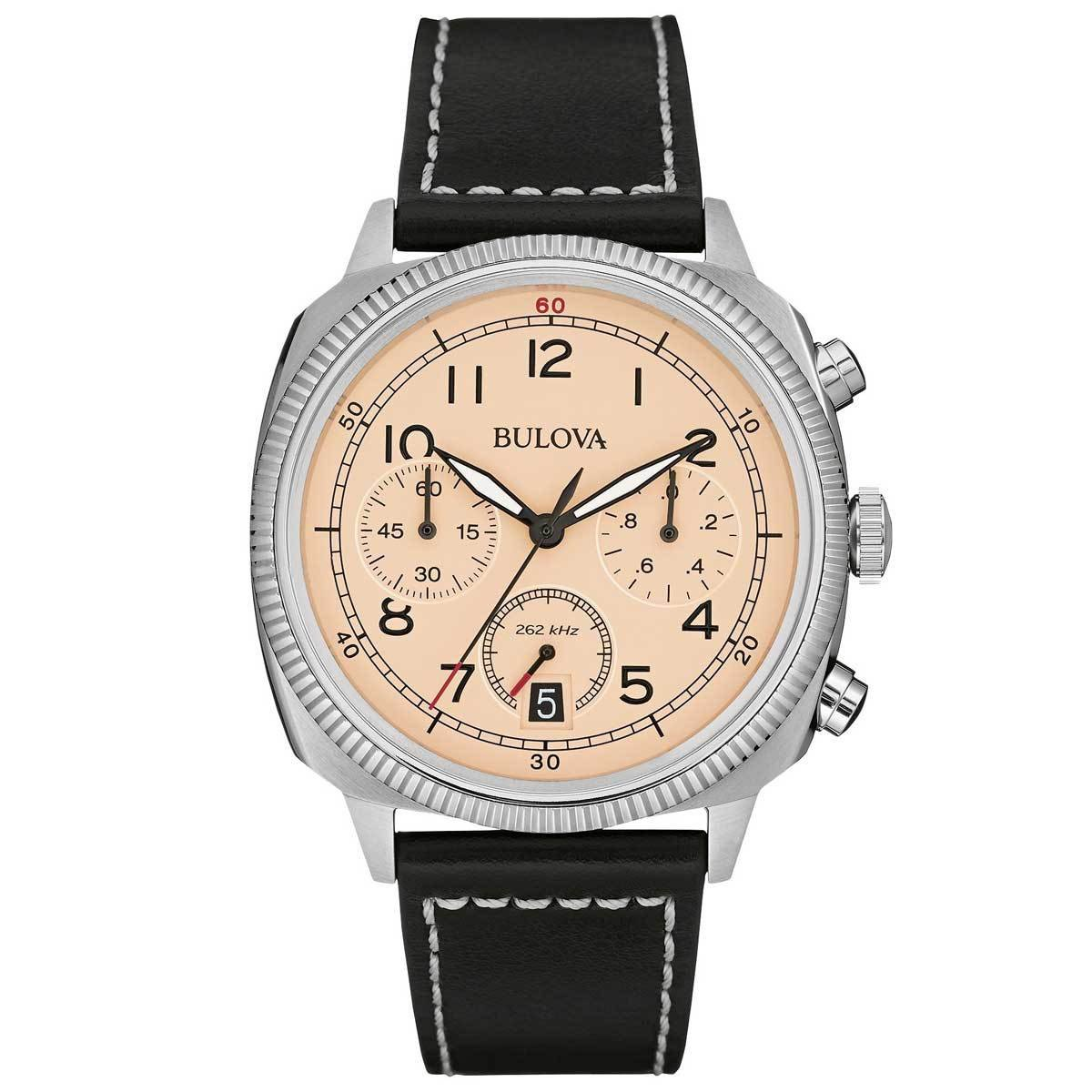Bulova Military Men's UHF Watch with Black Dial Analogue Display and Brown Leather Strap