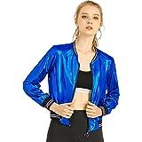Allegra K Women's Halloween Costume Sparkle Holographic Shimmering Metallic Lightweight Shiny Bomber Jacket