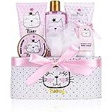 accentra Coffret cadeau Princess Kitty pour filles, coffret cocooning avec un doux parfum de fraise et de vanille, idée cadea