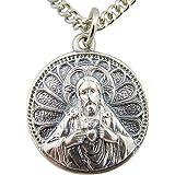 CB Medalla Scapular Sagrado Corazón Jesús Nuestra Señora del Monte Carmel, 7/8 pulgadas