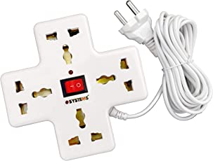 eSYSTEMS Extension Board, Multi Plug Points Strip, Extension Cord (3.6 Meters), 4 Universal Sockets, LED Indicator & Switch - 6 AMP, White