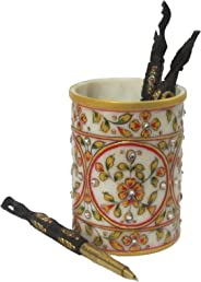 eCraftIndia Decorative Floral Pen Stand (4 in, White, Blue and Golden)