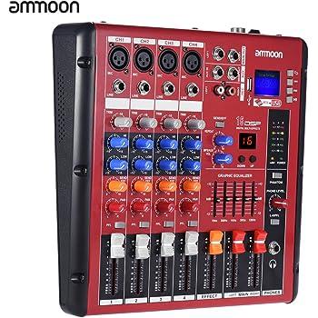 ammoon Mixer 4 Canali Digitali Line Mic Kit Stereo 2 Bande Di Conservazione con 48 V Alimentazione Phantom Interfaccia USB Per Registrazione Fase DJ Karaoke