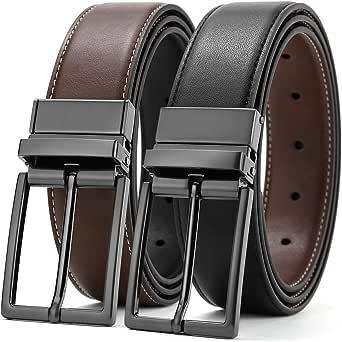Leather Belt Men Reversible Men's Belts Genuine Leather Adjustable Belts For Men With Reversible Buckles Men's Dress Belt With Single Prong Buckle 2-In-1 Double Side 3.2cm Width Brown And Black