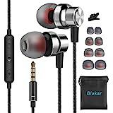 Blukar Écouteurs Intra-Auriculaires, Écouteurs Intra-Auriculaires Filaires avec Microphone & Contrôle du Volume, Deep Bass, A