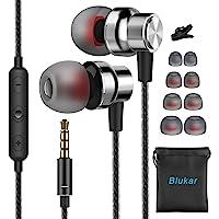 Blukar Écouteurs Intra-Auriculaires, Écouteurs Intra-Auriculaires Filaires avec Microphone & Contrôle du Volume, Deep…
