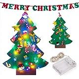 ziidoo Feltro Albero Natale,Fai da Te Albero di Natale in Feltro, 26 Pezzi Capodanno Decorazioni per Decorazioni da Appendere