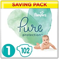Pampers Pure Protection Size 1, 102 Nappies, 2-5 kg, Saving Pack, Made with Materials Containing Premium Cotton and Plant-Based Fibres