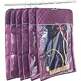 atorakushon® Satin Hanging Saree Cover Garments Wedding Wardrobe Organizer Pack of 6 (Purple)