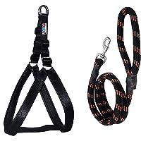 Skora Nylon Padded Black adjustable Dog Harness & Dog Leash Rope 1.25 Inch for Large Pet (Chest Size : 33-42)