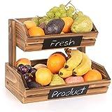 Corbeilles à Fruits en Bambou 2 Niveaux, Organiseur Bol à Fruits, Panier Support à Fruits, Légumes, Pain, Support de Rangemen