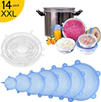 Couvercle Silicone Alimentaire,longzon [14 pcs] eco Couvercle Silicone Extensible, Film etirable Alimentaire...