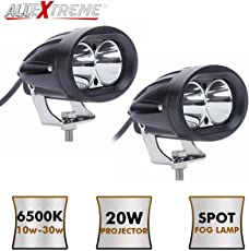 AllExtreme EX4DPL2 4 inch Oval CREE LED SMD Projector Auxiliary Fog Lamp Light Spot Flood Beam for Car, Motorcycle and Bikes (Pack of 2, White, 20W 3000LM)