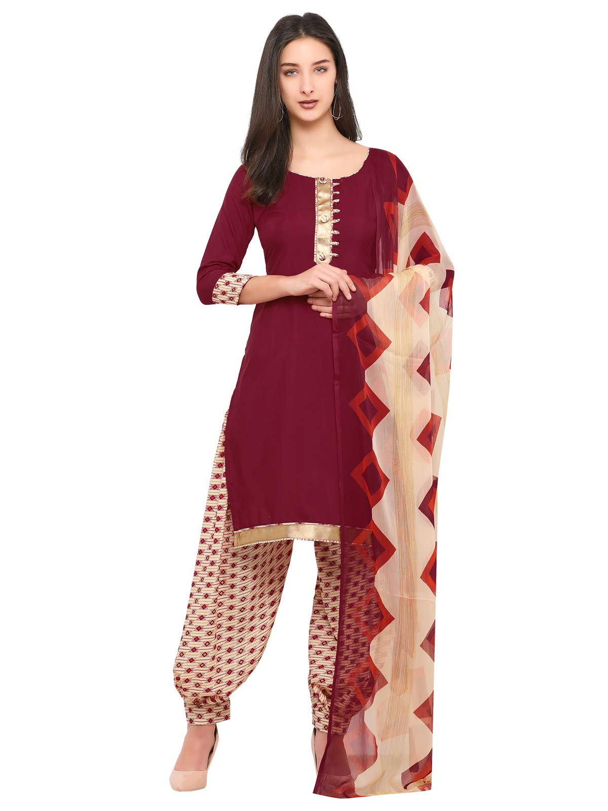KANCHNAR Women's Crepe Dress Material (583D17003_Free Size_Black)