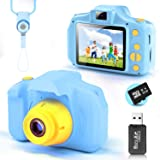 YunLone Cámara para Niños 12MP Selfie Cámara Digital 1080P HD Video Cámara Infantil 32GB TF Tarjeta, Estuche de Transporte, B