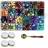 Aiboria Lot de 600 perles de cire à cacheter vintage multicolores avec bougies chauffe-plat et cuillère à cire pour sceau de