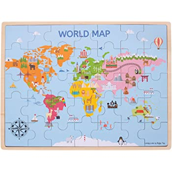 Janod World Map.Janod Jura Toys J05483 Russian Version Magnetic World Map