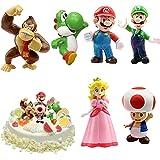 WELLXUNK® Super Mario Figures 6 pcs/Set Super Mario Toys, Figuras Super Mario Bros, Super Bros Juguetes Modelo, Super Mario J
