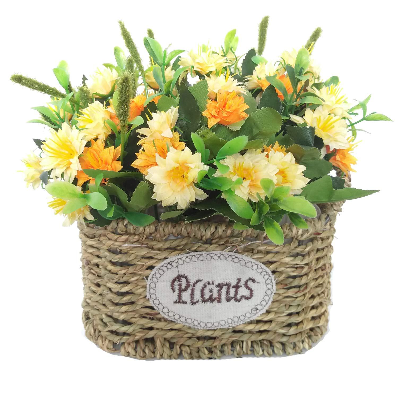 Cesta de flores de seda artificial, arreglos florales, centros de mesa de flores falsas, regalo para bodas, hogar…