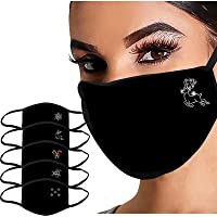 Zilosconcy 1/5 PC Christmas Face Covering Washable Women's Fashionable Hot Diamond Printing Dustproof Foggy Haze…
