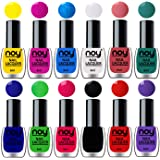 NOY® Nail Polishes Set of 12 Quick Dry Shiny Colors for Fingernails and Toenails 6ml each (Yellow, Plum, Sky Blue, White…